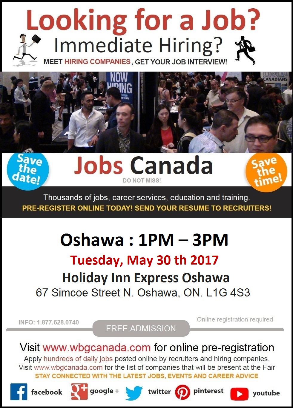 Free: Oshawa Job Fair – Tuesday, May 30th, 2017 Logo